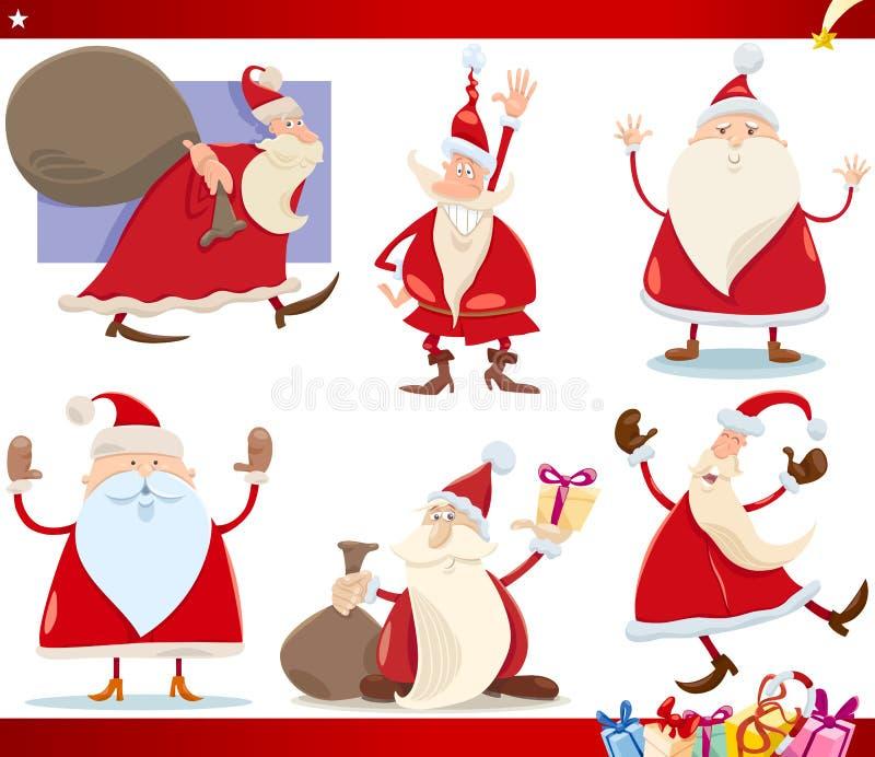 Santa Claus och jultecknad filmuppsättning vektor illustrationer