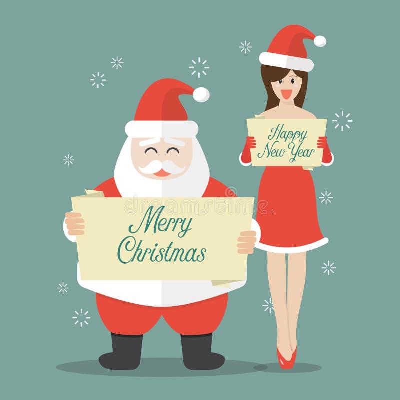 Santa Claus och jultomtenflicka i plan stil royaltyfri illustrationer