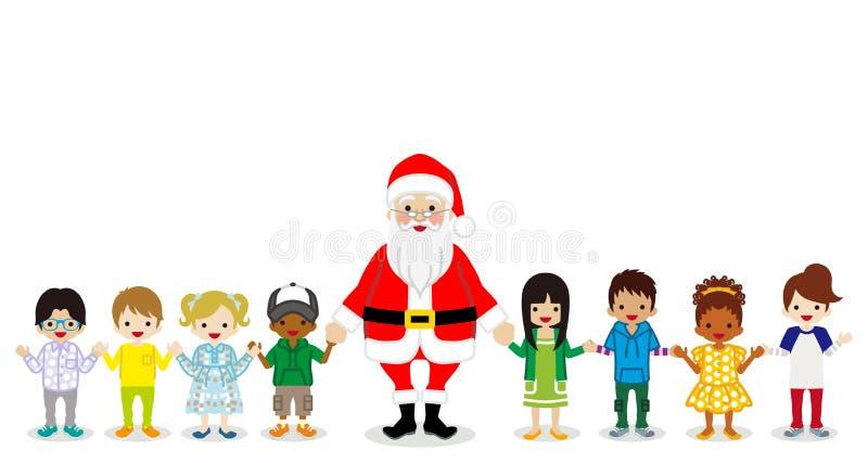 Santa Claus och mång- etniska barn som rymmer händer royaltyfri illustrationer
