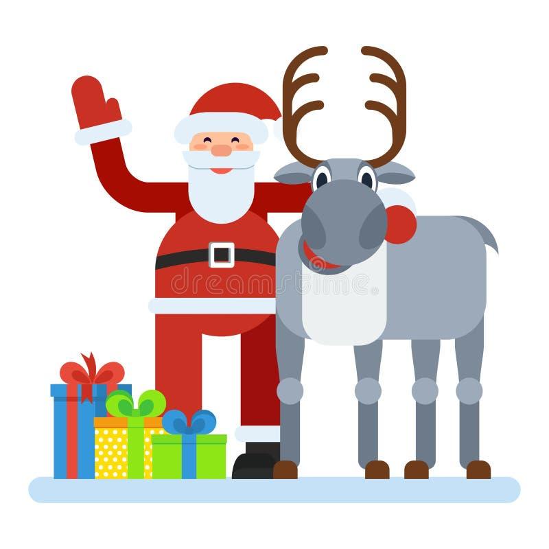 Santa Claus och ren royaltyfri illustrationer
