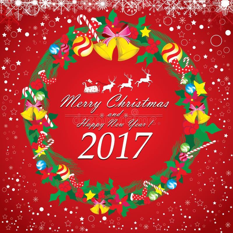 Santa Claus och ren med julkransen vektor illustrationer