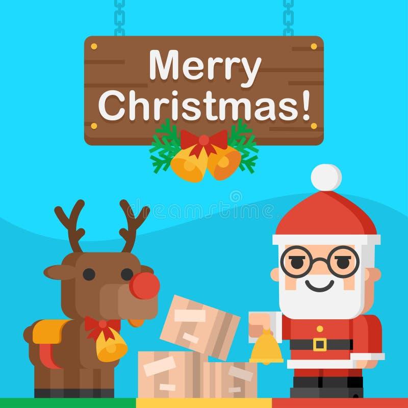 Santa Claus och renjulbegrepp vektor illustrationer