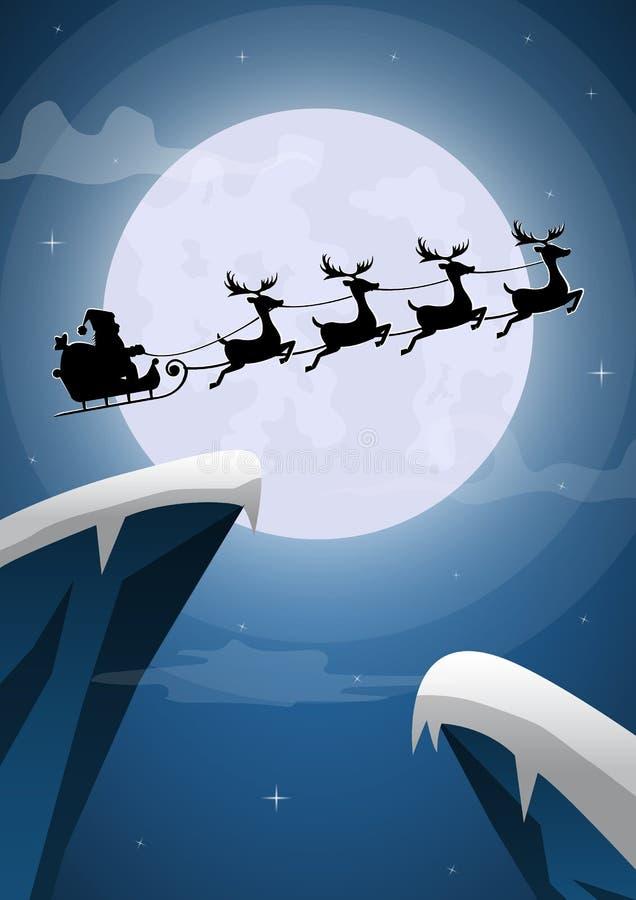 Santa Claus och renslädeflyg på julafton royaltyfri illustrationer