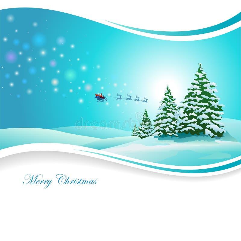 Santa Claus och snöig berg stock illustrationer