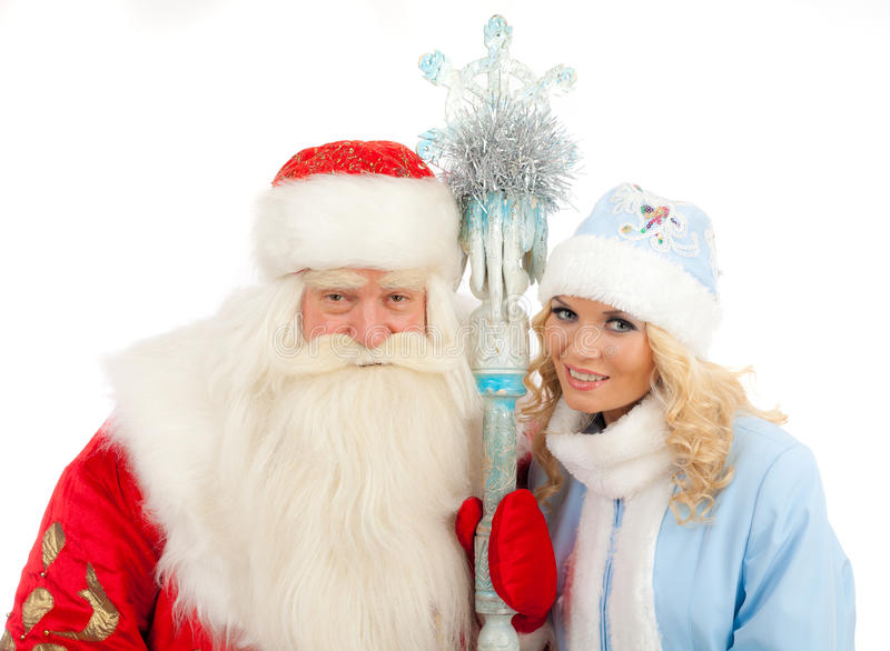 Santa Claus och snöjungfru arkivbild