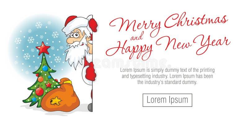 Santa Claus olha em torno do canto ilustração royalty free