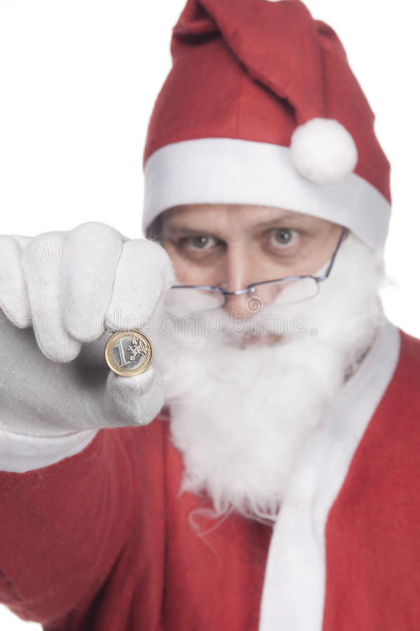 Santa Claus with one euro royalty free stock photo