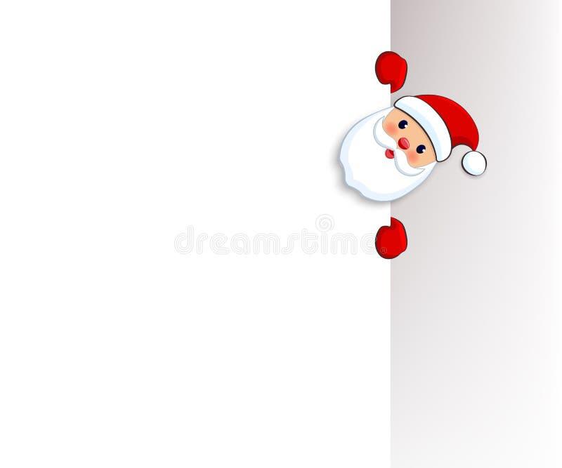 Santa Claus-onthaal met groot uithangbord Santa Frost die leeg teken houden Plaats voor tekst De kaart van de Kerstmisgroet, Kers royalty-vrije illustratie