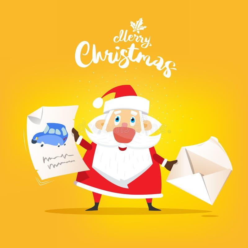 Santa Claus ontvangt een brief van wens over auto Vlakke vector, royalty-vrije illustratie