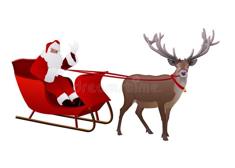 Santa Claus op een ar door rendier wordt op wit wordt geïsoleerd getrokken dat royalty-vrije illustratie