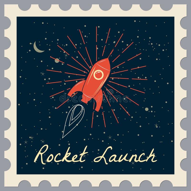 Santa Claus op een raket vliegt in ruimte rond de Aarde Postzegel Vrolijke retro Kerstmis en Gelukkig Nieuwjaar, stock illustratie