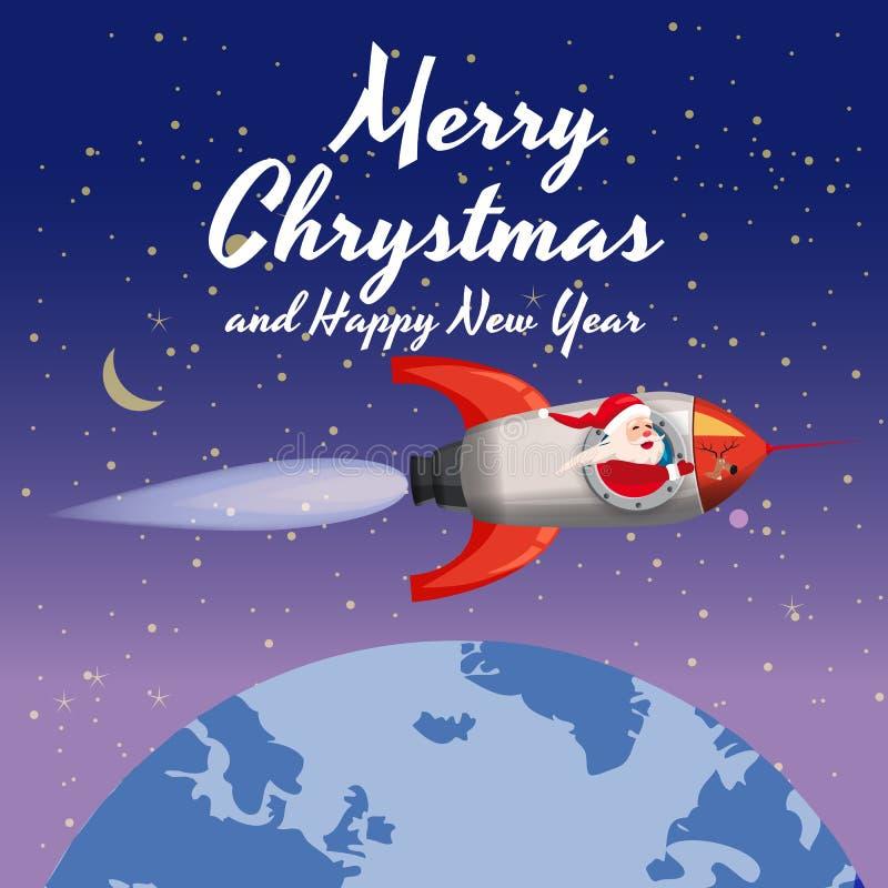 Santa Claus op een raket vliegt in ruimte rond de Aarde, Vrolijke Kerstmis en het Gelukkige Nieuwjaar De winter, sterren, vector vector illustratie