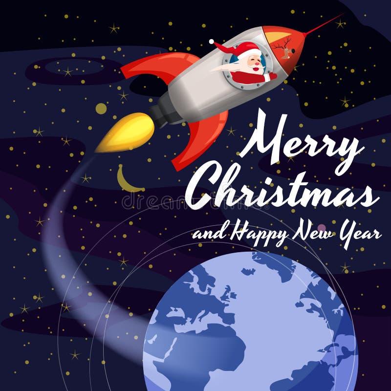 Santa Claus op een raket vliegt in ruimte rond de Aarde, Vrolijke Kerstmis en het Gelukkige Nieuwjaar De winter, sterren, vector royalty-vrije illustratie