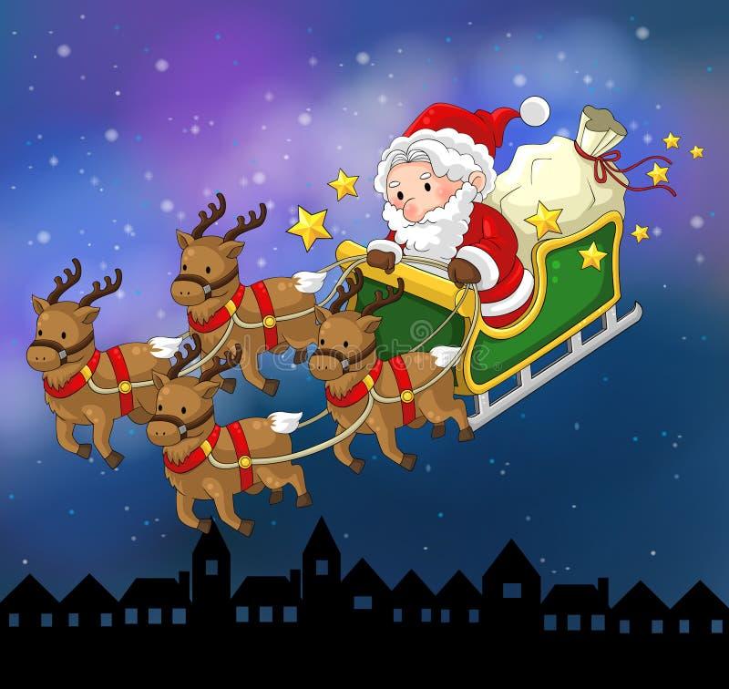 Santa Claus op een rendierar in Kerstmis in nachtscène royalty-vrije illustratie