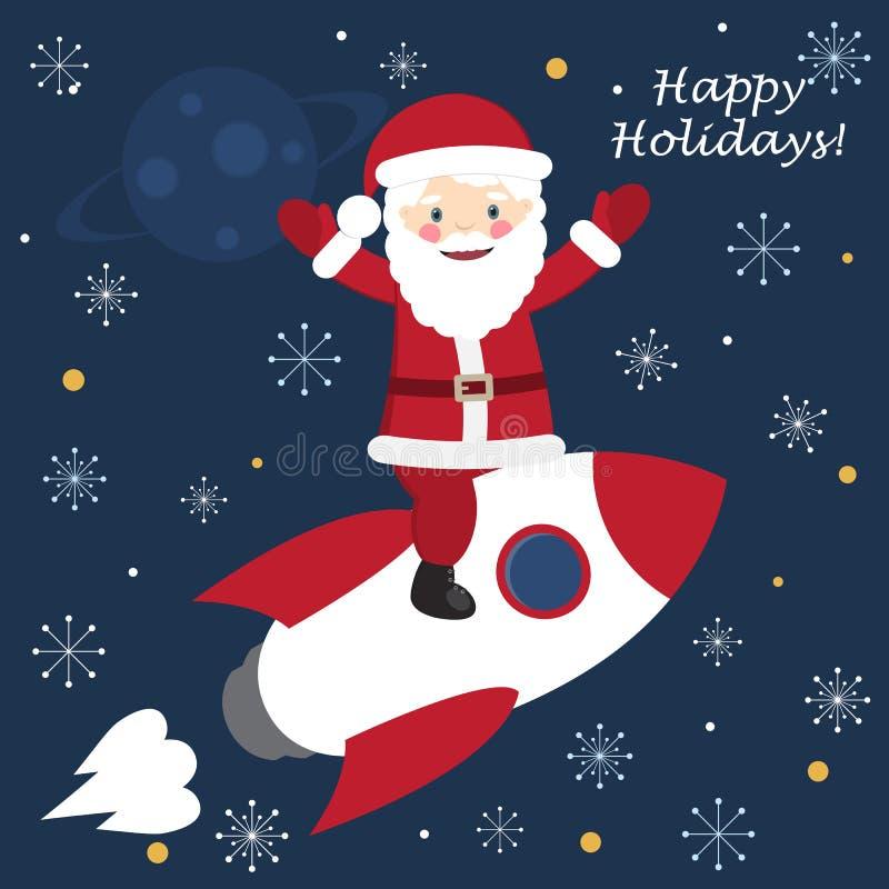 Santa Claus op het raketschip die door ruimte vliegen stock illustratie