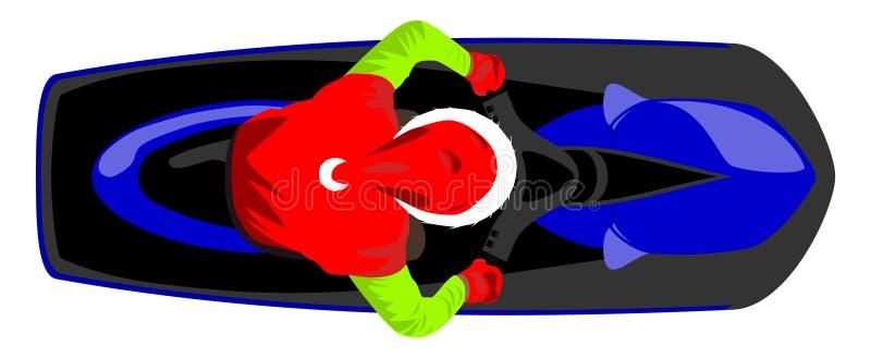 Santa Claus op hoogste mening van de aqua de autoped geïsoleerde vectorillustratie vector illustratie