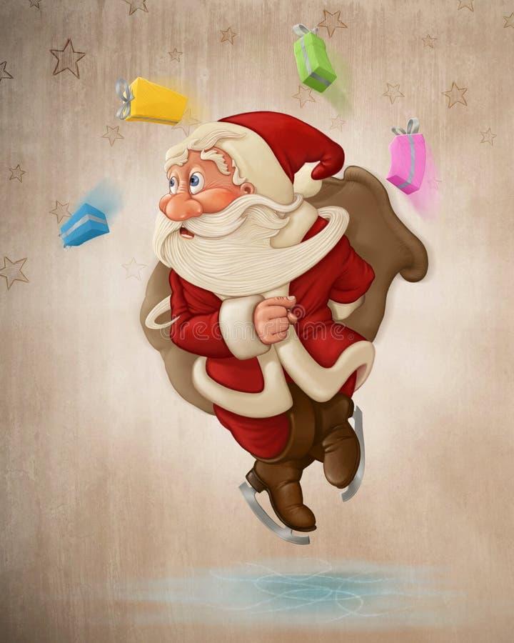 Santa Claus op ijs vector illustratie