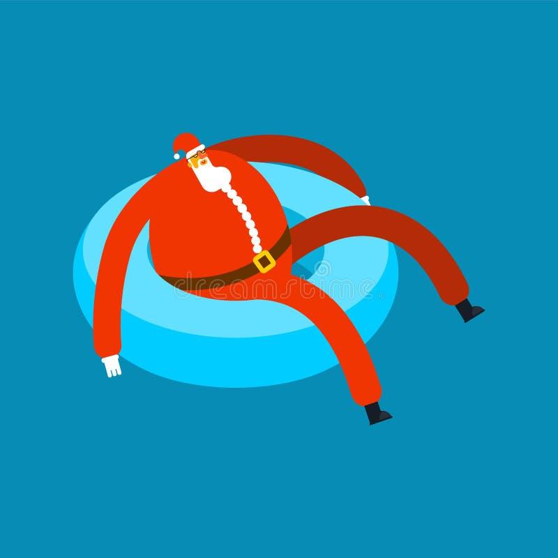 Santa Claus op opblaasbare ring Op zee Kerstmisvakantie rust royalty-vrije illustratie