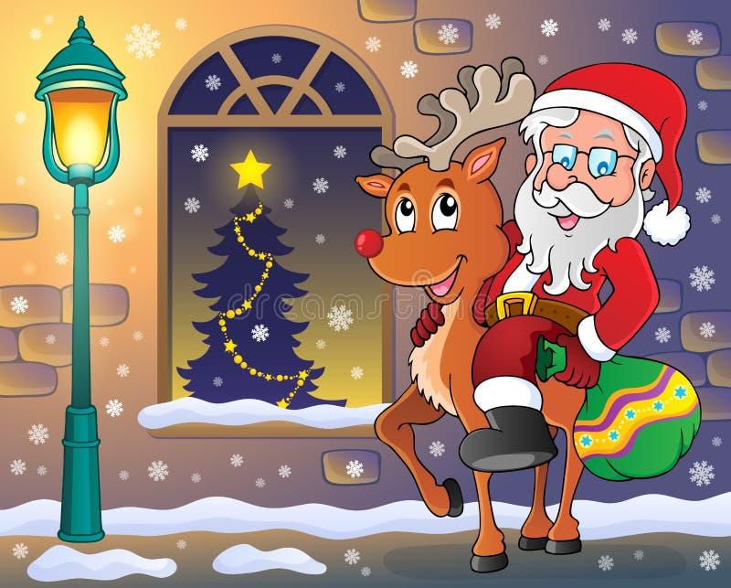 Santa Claus op rendier in stad stock illustratie