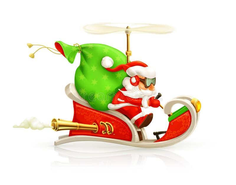 Santa Claus op sleeillustratie royalty-vrije illustratie