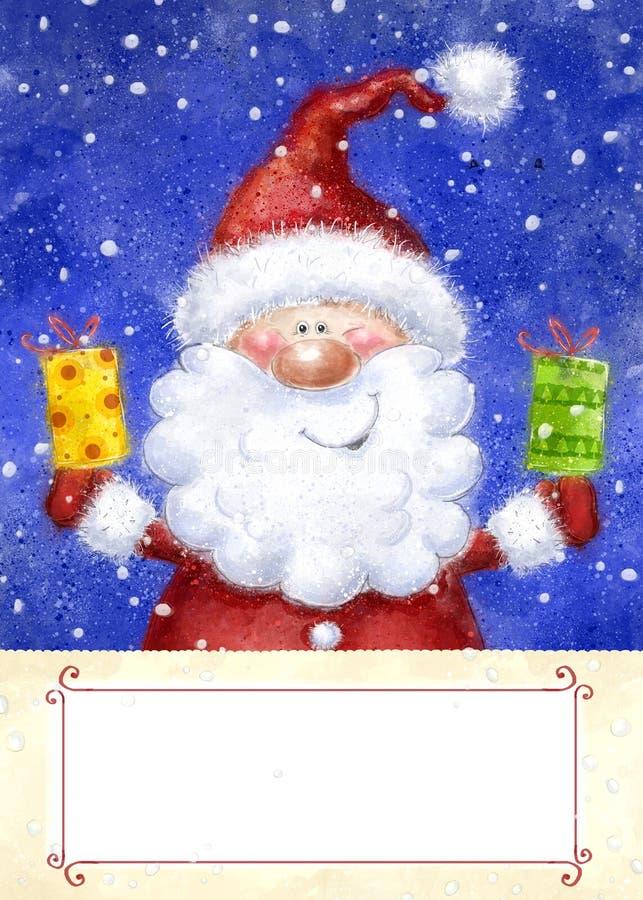 Santa Claus op sneeuwachtergrond De Kerstman op een slee Gelukkig Nieuwjaar Huw Kerstmiskaart Isoleer op wit De giften van Kerstm royalty-vrije illustratie