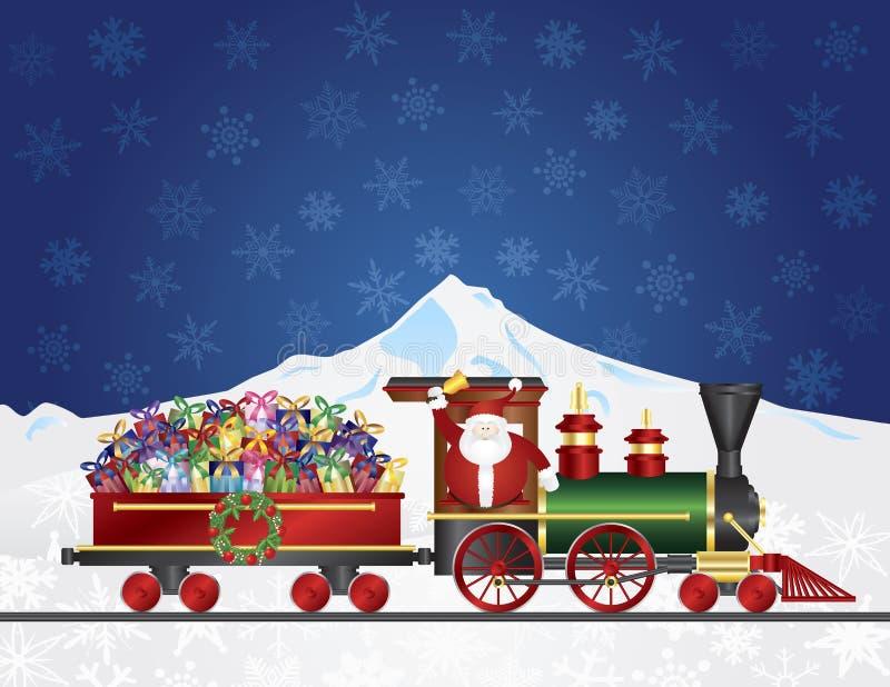 Santa Claus op Trein met stelt op Nachtsneeuw S voor stock illustratie