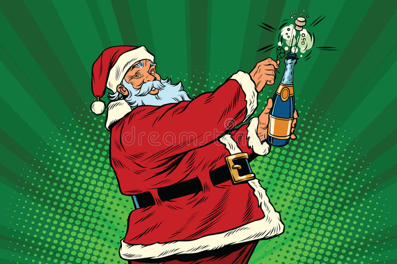 Santa Claus opens a bottle of champagne. Pop art retro vector. Christmas holiday and New year. Alcohol and sparkling wine vector illustration