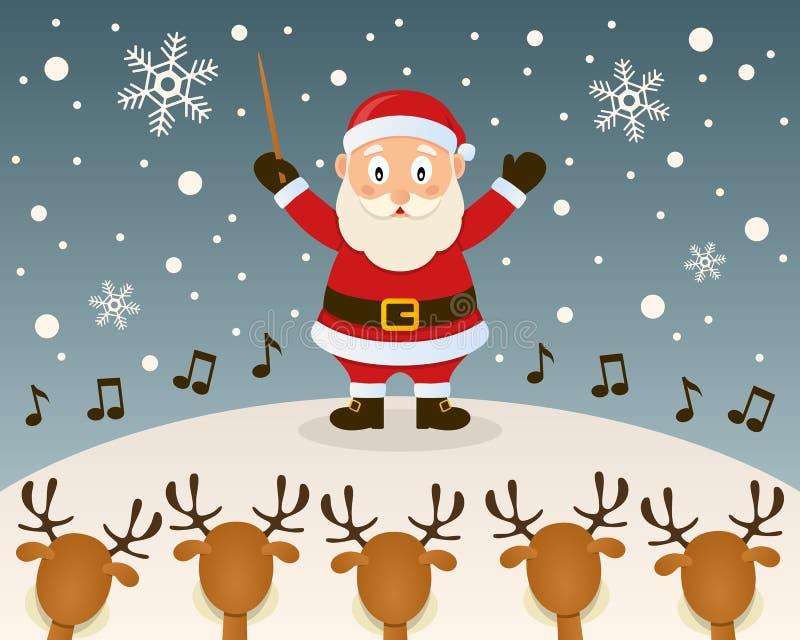 Santa Claus Orchestra Leader royaltyfri illustrationer