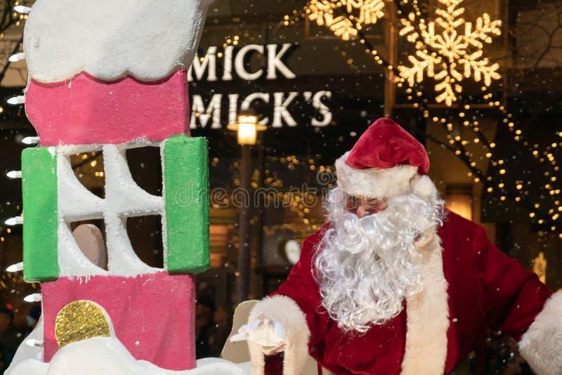 Santa Claus på den Bellevue julen ståtar arkivfoton