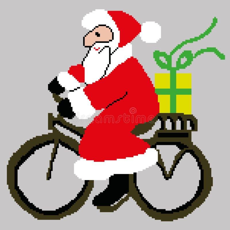 Santa Claus Santa Claus på en cykel med en gåva som dras av fyrkanter, PIXEL Lyckligt nytt år för hälsningkort också vektor för c vektor illustrationer