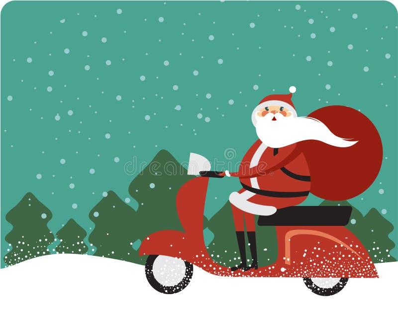 Santa Claus på en sparkcykel royaltyfri illustrationer