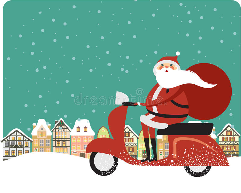 Santa Claus på en sparkcykel royaltyfri illustrationer