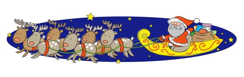 Santa Claus på hans släde stock illustrationer