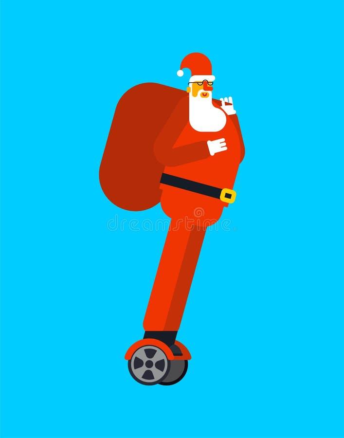 Santa Claus på hoverboard glad jul Modern transport stock illustrationer