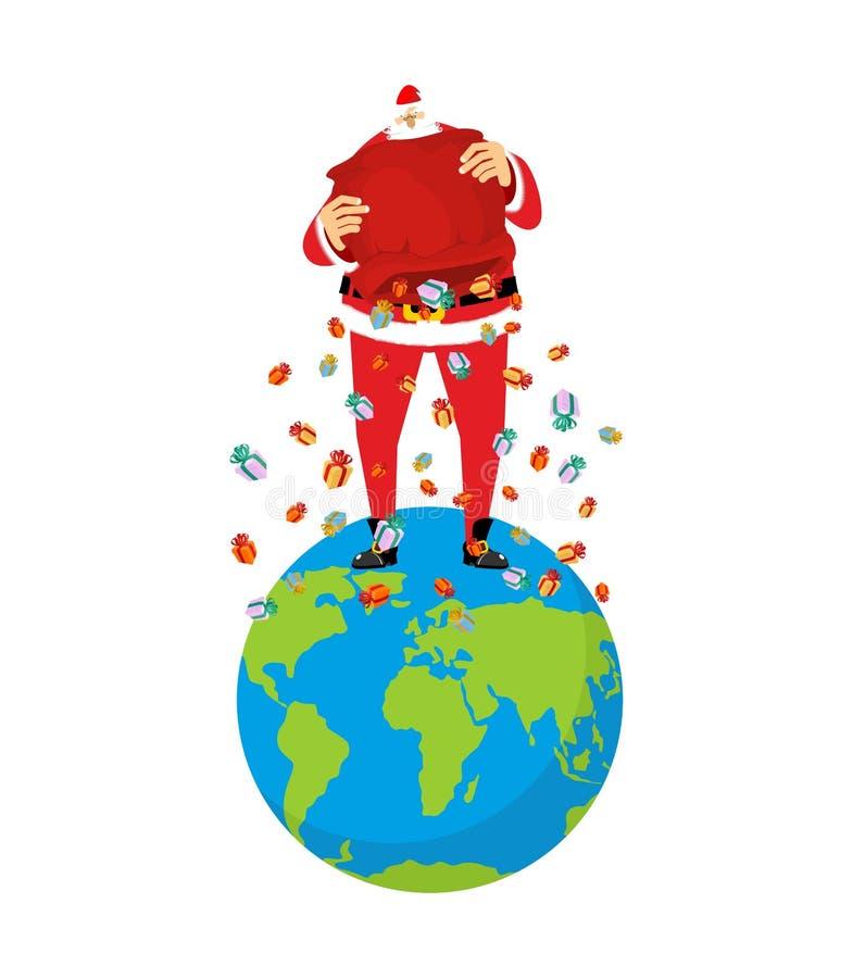 Santa Claus på jord Jul på planeten Stor röd påse och många royaltyfri illustrationer
