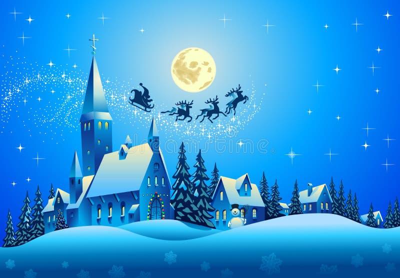 Santa Claus på julnatt royaltyfri illustrationer