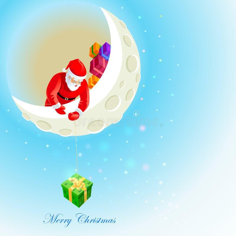 Santa Claus på månen royaltyfri illustrationer