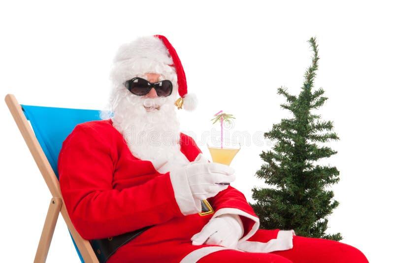 Santa Claus på semester arkivbilder