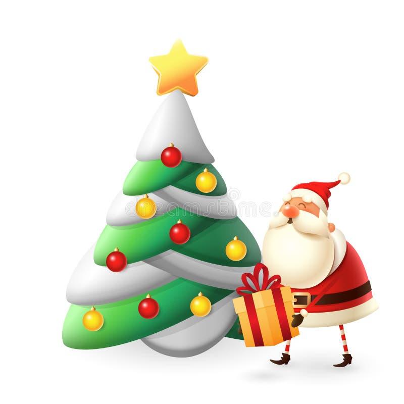 Santa Claus pôs presentes sob a ilustração da árvore de Natal isolada sobre o branco ilustração royalty free