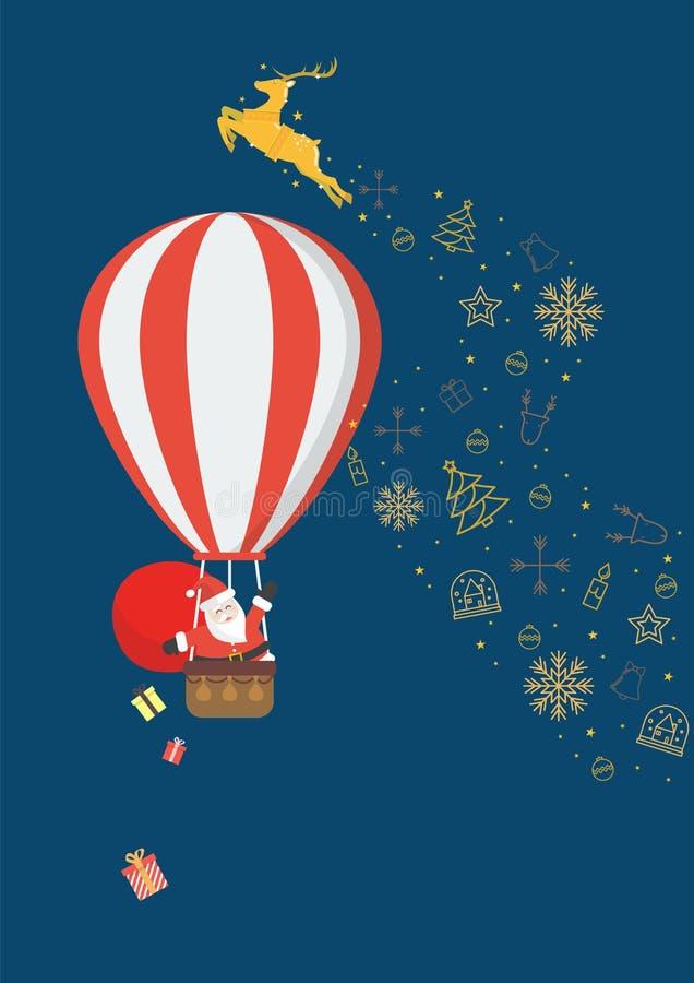 Santa Claus p? en ballong f?r varm luft royaltyfri illustrationer