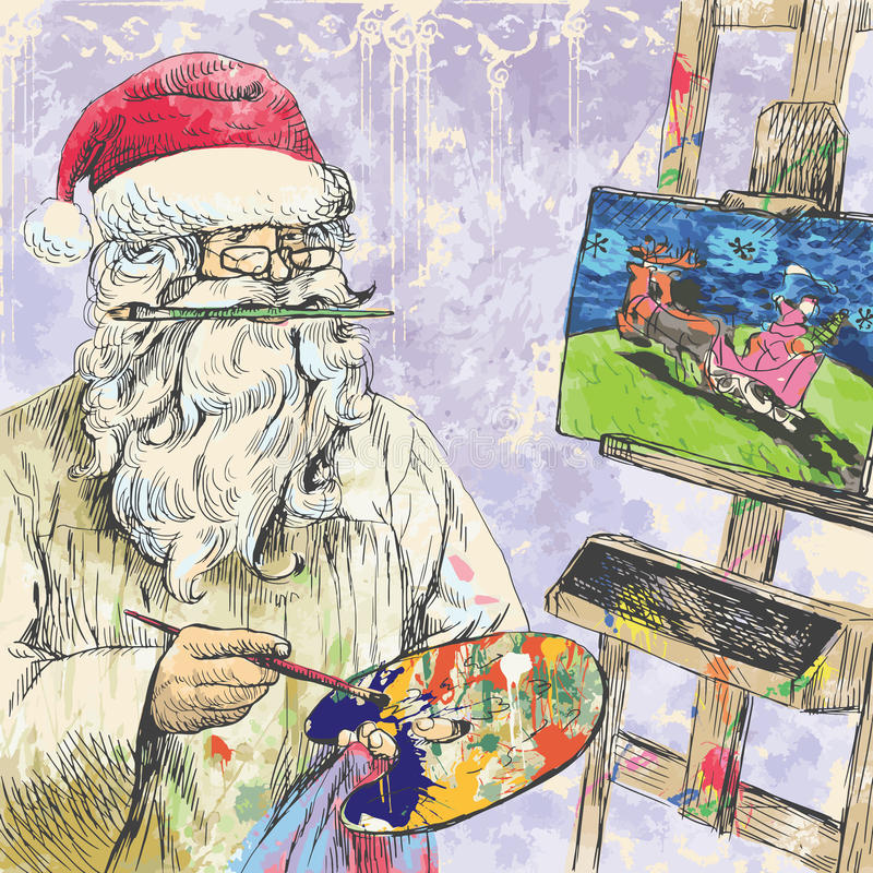 Santa Claus painter. Santa Claus himself made gifts - Painting Christmas card on canvas. Editable in several layers. Number of colors in each layer: no more than stock illustration