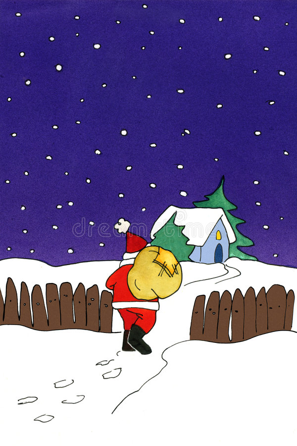 Santa Claus painting stock image