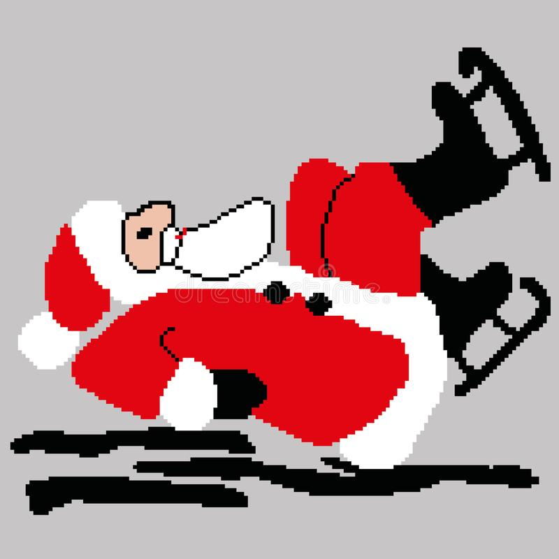 Santa Claus, pattinare di Santa Claus caduto su ghiaccio estratto quadra, pixel Buon anno della cartolina d'auguri Illustrazione  royalty illustrazione gratis