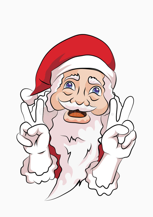 Santa claus peace pose. Santa claus wearing red brandishing a peaceful pose with two hands stock illustration