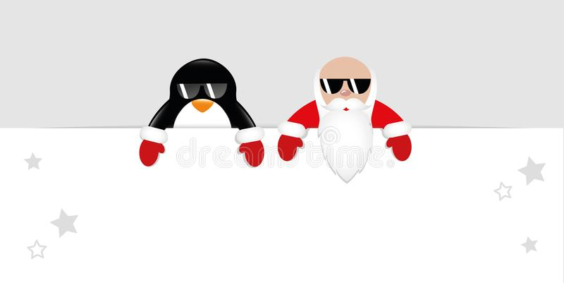 Santa Claus and penguin with cool sunglasses stock illustration