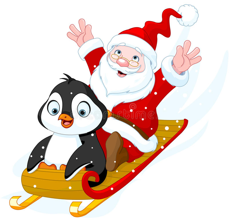 santa claus and penguin stock vector image of drawing. Black Bedroom Furniture Sets. Home Design Ideas