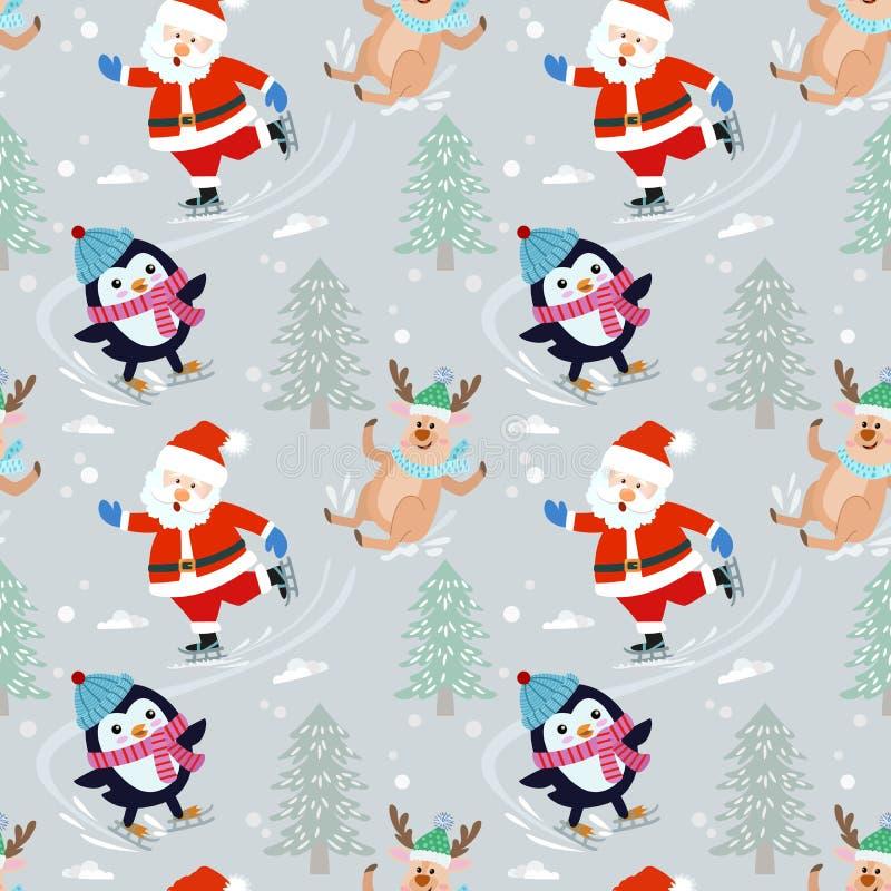 Santa Claus and penguin on skate pattern. vector illustration