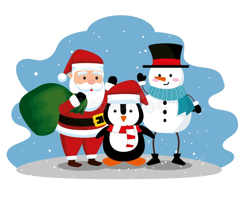 Santa claus with penguin and snowman to celebrate christmas. Vector illustration stock illustration
