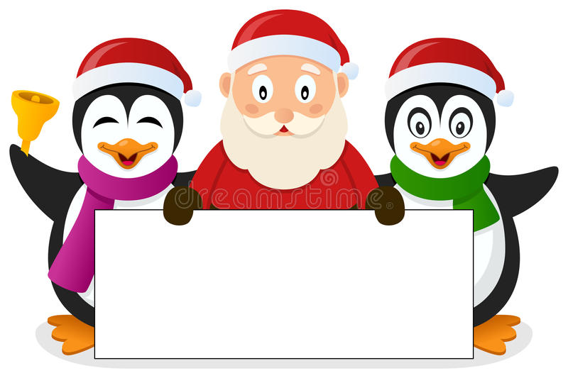 Santa Claus & Penguins with Blank Banner vector illustration