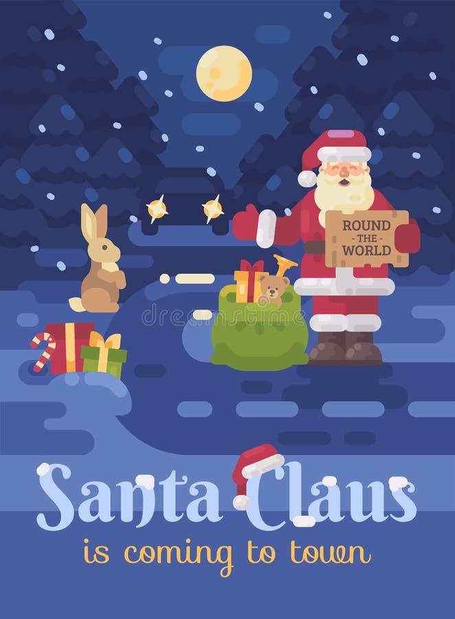 Santa Claus perdió su trineo y reno y está haciendo autostop en el camino para entregar presentes a los niños  libre illustration